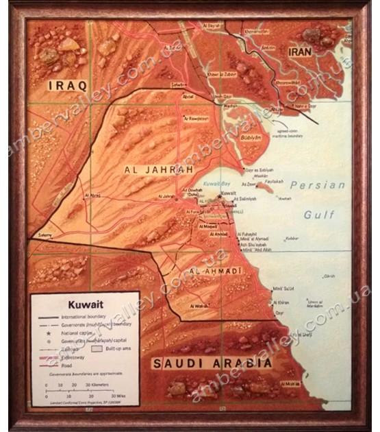 Карта Кувейта из янтаря