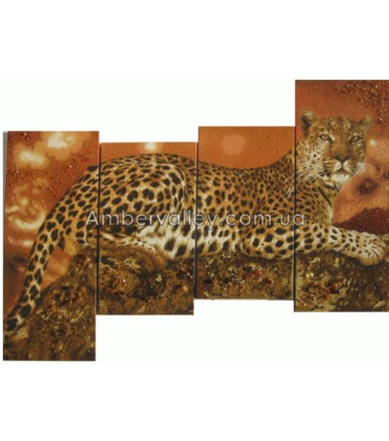 Триптих из янтаря Леопард